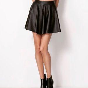 Bershka black vinyl skirt small skater circle